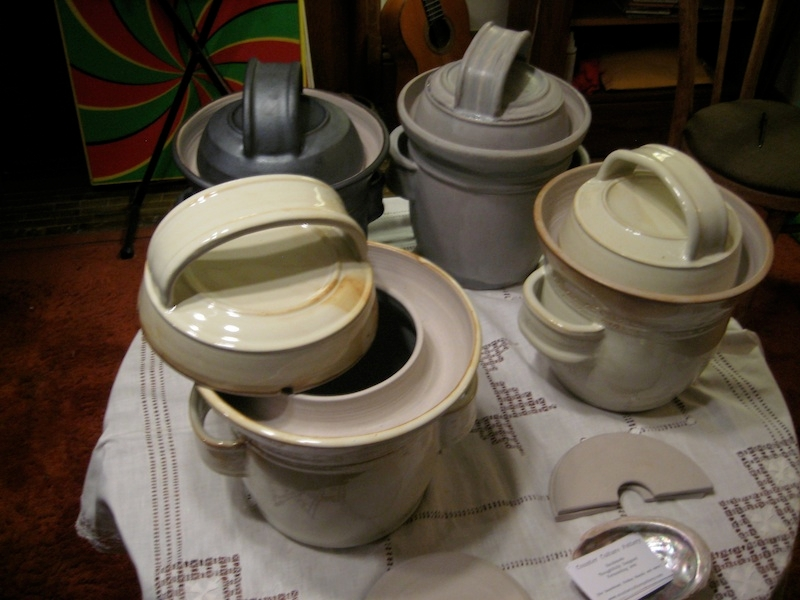 Handcrafted crocks, in the style of German Harsch crocks by California potter Sarah Kersten (www.counterculturepottery.com).