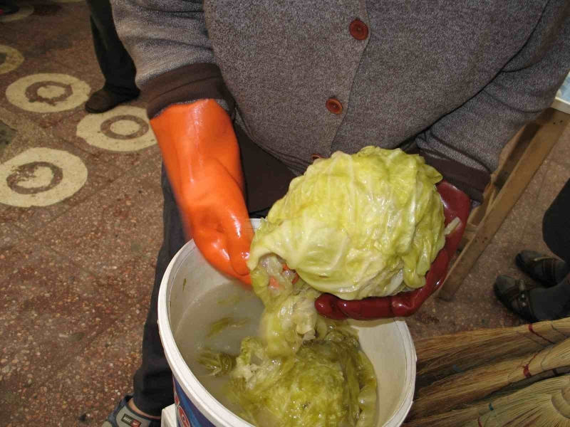 Whole cabbages fermented in brine, from a market in Romania. Photo by Luke Regalbuto and Maggie Levinger