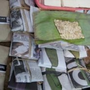 Partially fermented tempeh for sale in a Javanese market. Bring it home and the next day it\'s ready to eat.