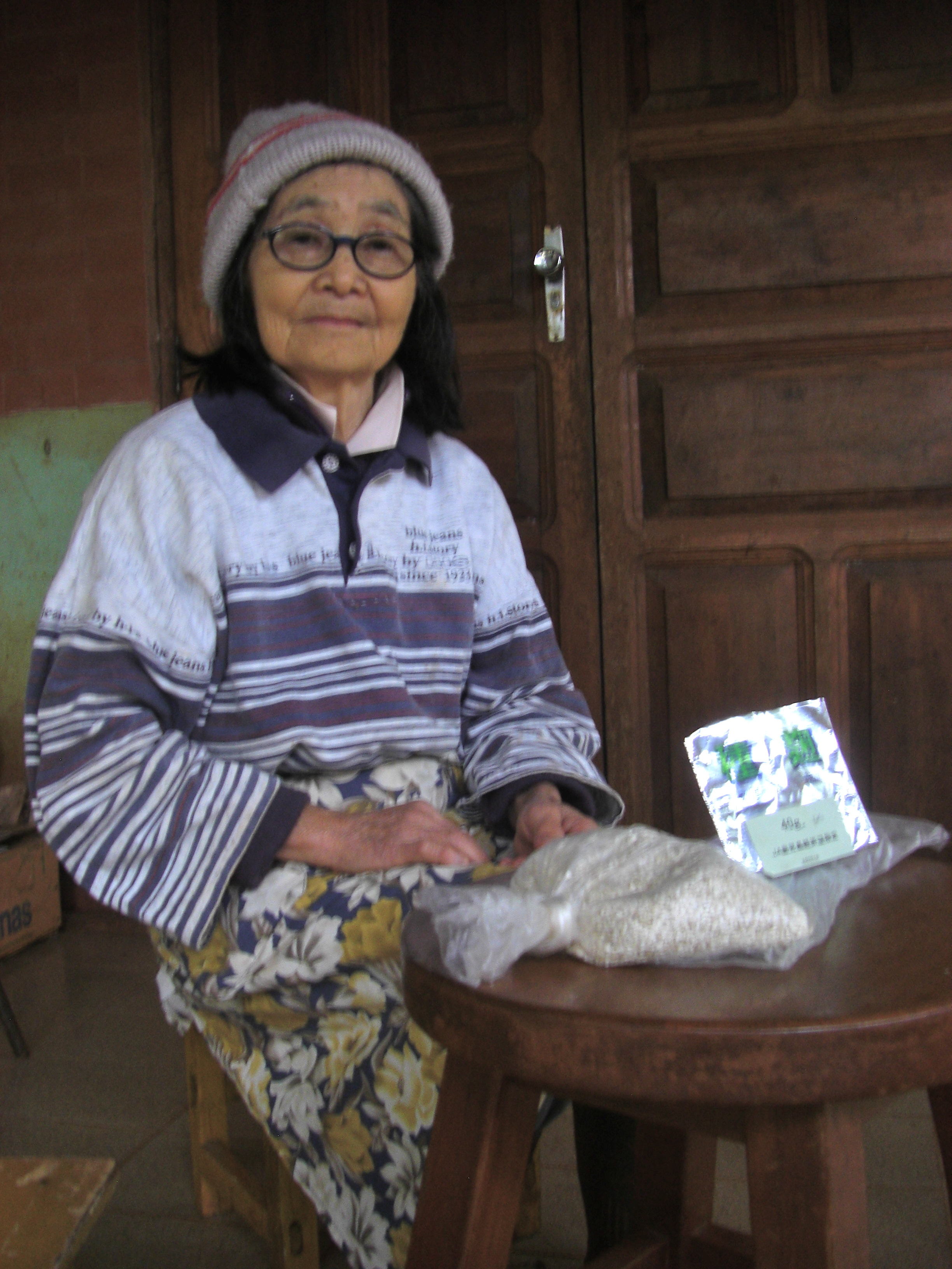Hiroko Seki with a bag of her homemade koji.