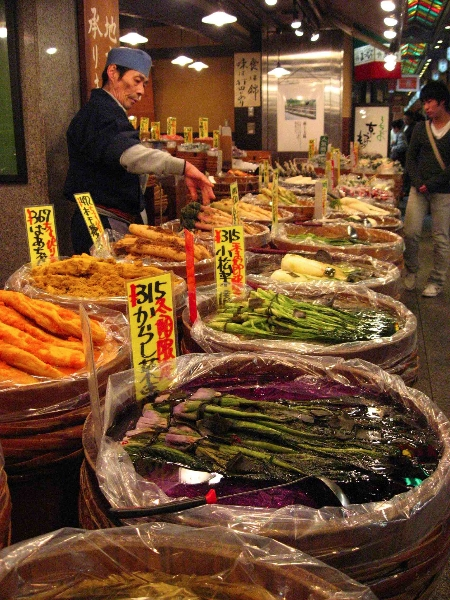 Different styles of fermented vegetables on display at a Japanese pickle market. Photo by Eric Haas