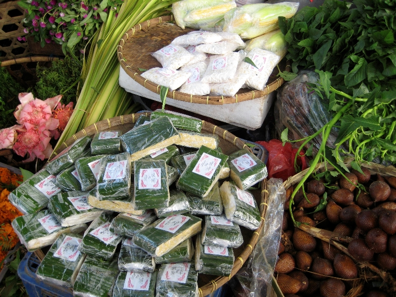 Tempeh for sale in  market in Bali.