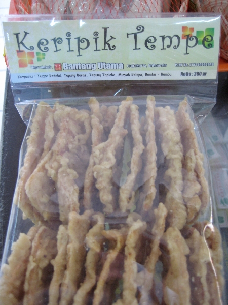Shelf-stable fried tempeh snacks.