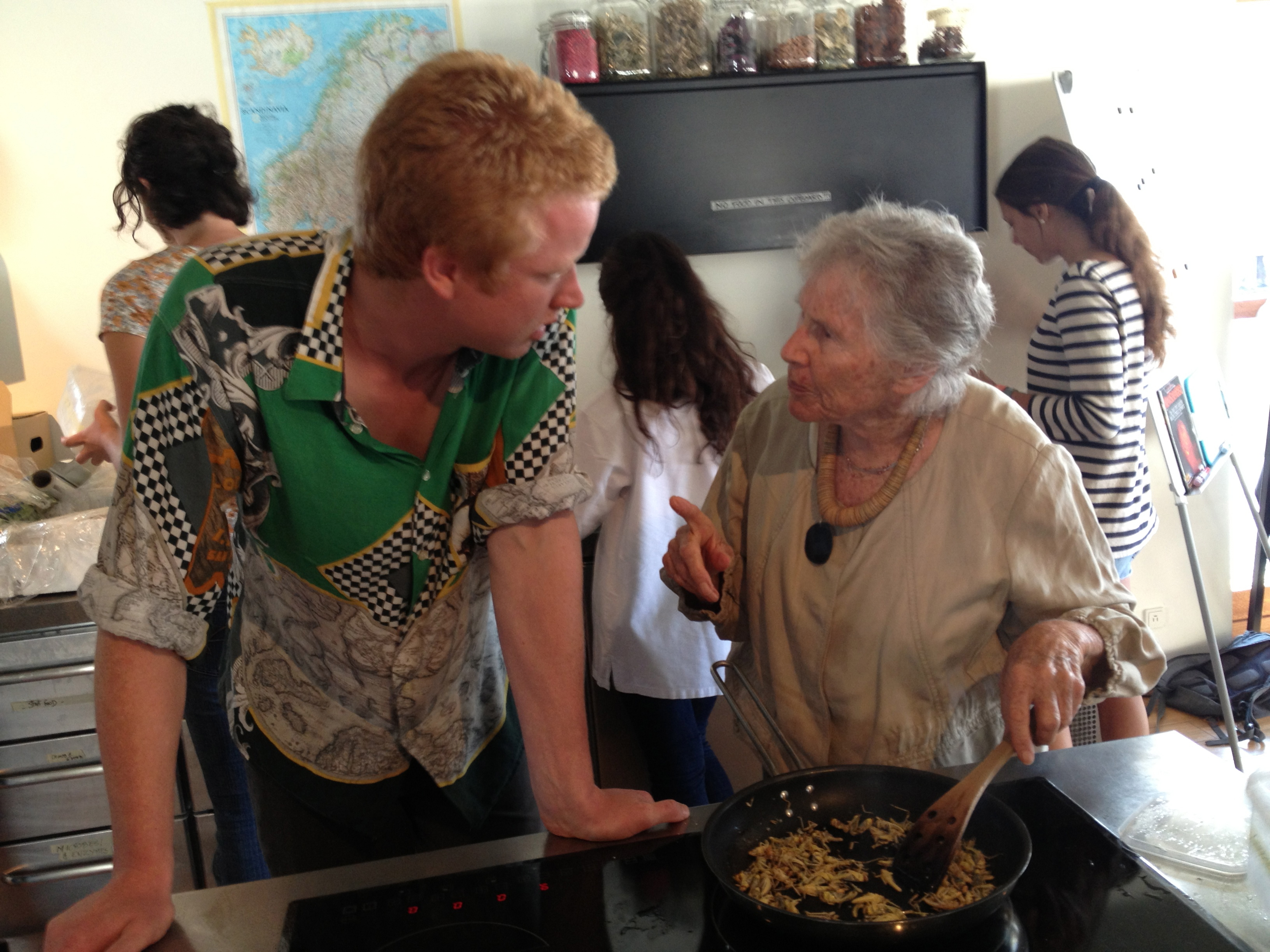 Diana Kennedy cooking grasshoppers while talking with Ben Reade.